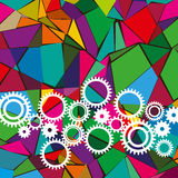 Different colorful gears with abstract background Stock Images