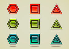Different colorful gems for creating video games. Set of nine colorful gems for creating video games Stock Illustration