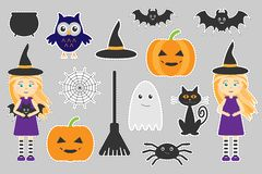Different colorful halloween pictures for children, fun education game for kids, preschool activity, set of stickers, illus vector illustration
