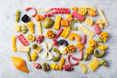 Different colorful handmade pasta variety Copy space Stock Photography