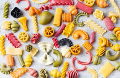 Different colorful handmade pasta variety Copy space Stock Photos