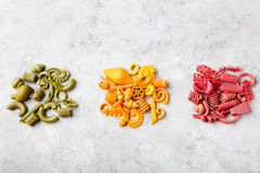 Different colorful handmade pasta variety Copy space Stock Image