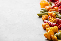 Different colorful handmade pasta variety Copy space Stock Images