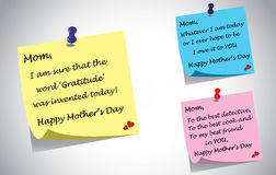 Different colorful happy mothers day quotes post i. T note set. three unique creative quotes by kids thanking mother using color postit notes - relationship Royalty Free Stock Photography