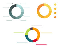 3 different colorful isolated pie diagrams Royalty Free Stock Photography