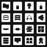 Different colorful labels icons set squares vector. Different colorful labels icons set in white squares on black background simple style vector illustration Royalty Free Stock Photography