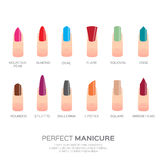 Different colorful nail shapes. Woman fingers. Fingernails fashion trends. Vector design illustration Stock Photography