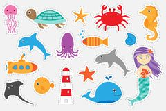 Different colorful pictures of ocean animals for children, fun education game for kids, preschool activity, set of stickers, stock illustration