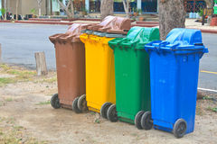 Different colorful recycle bins Stock Photos