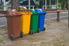 Different colorful recycle bins. In the Park royalty free stock image