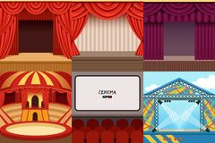 Different colorful cartoon stages set. Different colorful stages set circus, theater, concert hall, cinema, podium and open air festival. Hall equipped with Vector Illustration