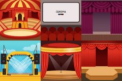 Different colorful cartoon stages set. Different colorful stages set circus, theater, concert hall, cinema, podium and open air festival. Hall equipped with Stock Illustration