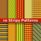 Different colorful stripy vector seamless patterns. 10 Different colorful stripy vector seamless patterns (tiling). Spices concept. Diagonal, vertical and Royalty Free Stock Images