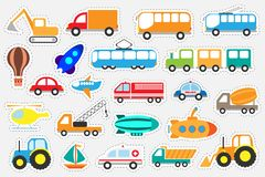 Different colorful transport for children, fun education game for kids, preschool activity, set of stickers, vector illustration stock illustration