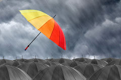 Different colorful umbrella holding Stock Image