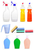 Different colorful unlabeleled cleaning products Royalty Free Stock Photography