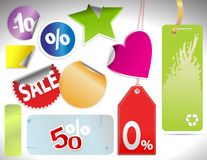 Different colorfull  tags and stickers Stock Photo