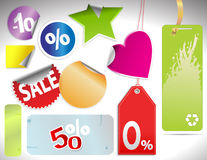 Different colorfull  tags and stickers Stock Image