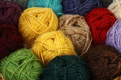 Different colorfully wool balls royalty free stock photography