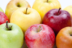 Different colors apple fruits. closeup Stock Photos