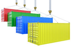 Different colors cargo containers on the crane hook isolated Royalty Free Stock Photo
