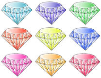 Different colors of diamonds Royalty Free Stock Photo