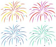 Different colors of fireworks on white background. Illustration Stock Photos
