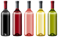Different colors of glass bottles. Illustration stock illustration