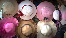 A display of hats and colors royalty free stock photo