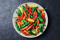 Different colors hot peppers in wooden plate. Closeup. Food photography Stock Photography