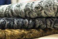 Different colors of karakul pelts, lambskin texture, background. Different colors of karakul pelts, lambskin texture Stock Photos