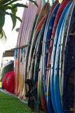 Kayaks for rent near a beach Royalty Free Stock Image