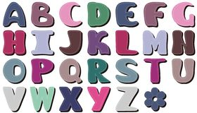 Different colors letters scrapbook Royalty Free Stock Images
