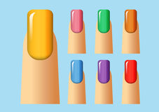 Different colors of nail. Different colors of finger nail Stock Photography