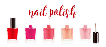 Different colors nail polish set. Nail varnish in the bottle with the bottle lid, isolated on white background. Vector Stock Images