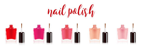 Different colors nail polish set. Nail varnish in the bottle with the bottle lid, isolated on white background. Vector Royalty Free Stock Photo