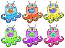 Different colors of an octopus toy Stock Images