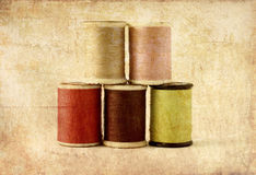 Different Colors Of Thread Spools, Photo In Old Image Stock Photography
