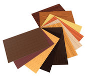Different colors of particle boards on a white background Royalty Free Stock Image