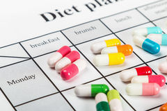 Different colors of the pill on the diet plan Stock Image