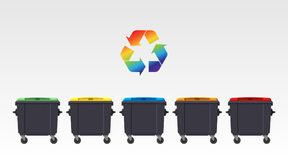 Different colors recycle bins isolated on white background. Flat style. Vector. Different colors recycle bins isolated on white background. Flat style. Vector Stock Illustration