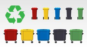 Different colors recycle bins isolated on white background. Flat style. Vector. Different colors recycle bins isolated on white background. Flat style. Vector Royalty Free Illustration