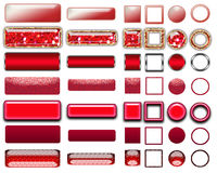 Different colors of red buttons and Icons for web design Stock Images