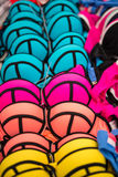 Different colors of same brassieres on the market stall in Tymbaki Stock Images
