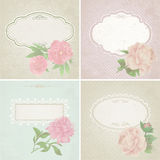 Different colors set of vintage greeting cards with peony Royalty Free Stock Photo