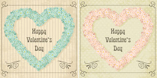 Different colors set of vintage Valentines card Stock Image