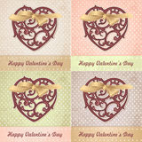 Different colors set of vintage Valentines card Royalty Free Stock Photos