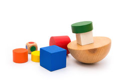 Different colors and shapes wooden blocks Stock Image