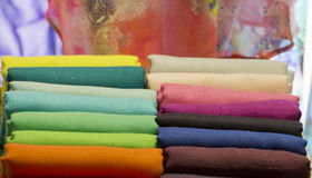 Different colors silk fabric Stock Photos