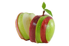 Different colors sliced apple Stock Image